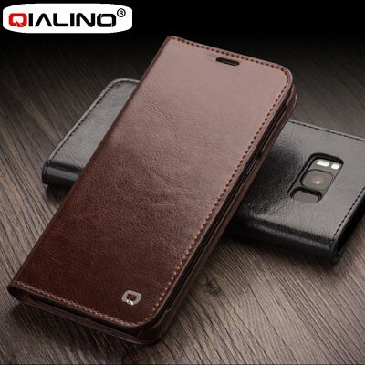 Qialino Real Leather Vintage Flip Cover Slim Wallet Case for Samsung phones PA
