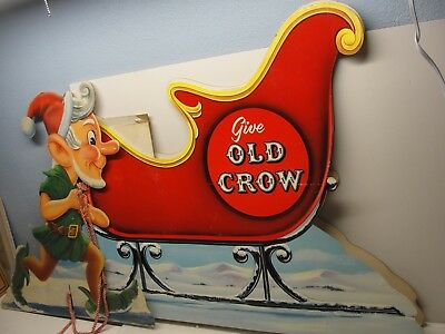 Wow Rare Old Crow Whisky Cardboard Store Display Elf Pulling Santa Sleigh