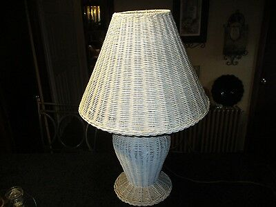 """Vintage White Shabby Chic Wicker Table Lamp 24"""" Tall with Shade Working Nice!"""