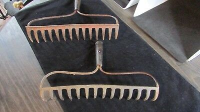 Vintage Rake Heads - 2 Rustic Rusty Rake Heads -13 inches long Each has 14 tines