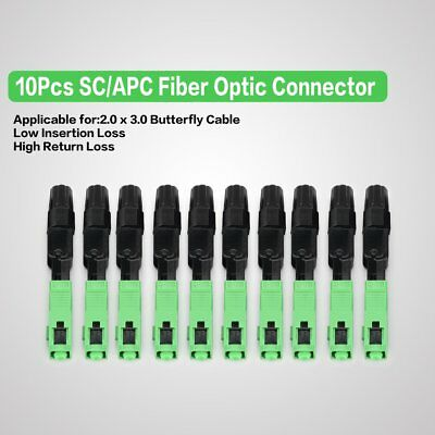 SC//APC 10Pcs//Lot FTTH Embedded Fast Quick Assembly Optical Fiber Connector W1