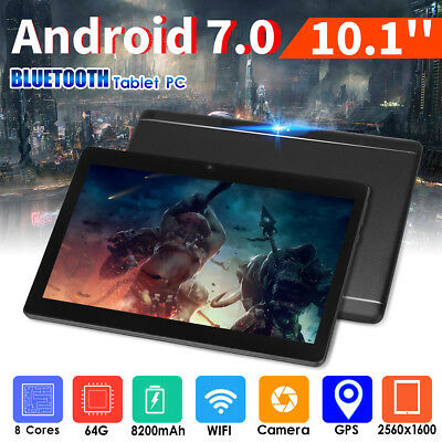 "10.1"" 64G Tablet PC Android 7.0 Octa Core 2Ghz 10 Inch WIFI 2SIM 4G Phablet PJ"