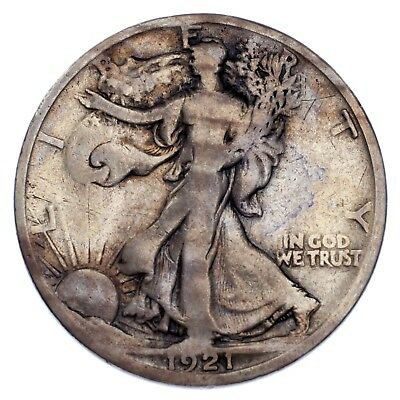 1921-D 50C Walking Liberty Half Dollar Very Good Condition, Key Date