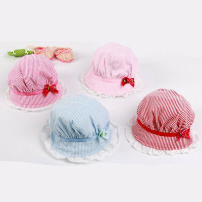 Rose Striped Lace Bow Baby Girl Cap Summer Princess Hat Beach Bucket Tropic N7