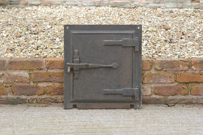 53 x 48.5 cm old cast iron fire bread oven door/doors /flue/clay/range/pizza