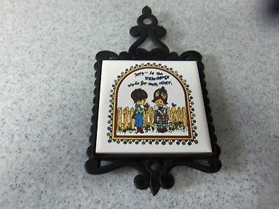 Vintage Cast Iron Tile - 4 Footed Trivet - Love is the Little Things We Do
