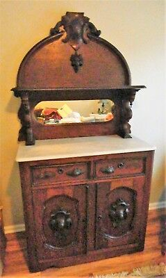 Antique Heavy Hand Carved Victorian Sideboard Buffet - 3 pieces