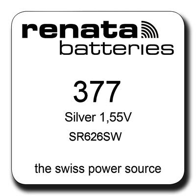 1 x Renata 377 SR626SW SR66 AG4 606 BA Watch Battery Silver Oxide 0% Mercury