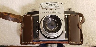 Vintage Jhagee Dresden Exa Camera With Ludwig Meritar Lens and Leather Case