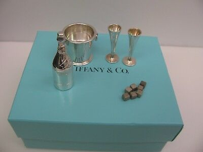 Tiffany  Sterling Silver Miniature Champagne Bottle,Bucket, ice cube, 2 Glasses