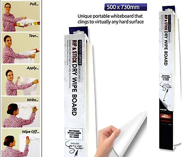 Instant Magic Whiteboard Reusable Sheets Sticks to Any Surface Wipe Cling Roll 8