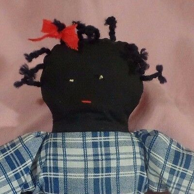 "Vintage Aa Rag Doll  Hand Stitched Face & Pig Tails  15"" Tall 1940's Era"