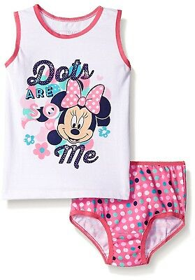 Disney Minnie Mouse Toddler Girls 2 pc Underwear Set (1Tank-1 Panty) Size 4T-NWT