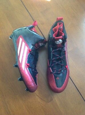 New Adidas Crazyquick 2.0 Mid Football Lax Cleats Black Red Size 11