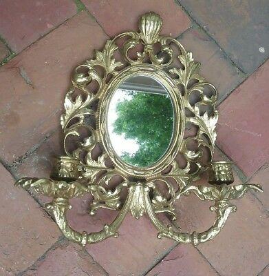 Ornate Vintage French Art Nouveau Brass Mirrored 2 Candled Wall Sconce Fancy