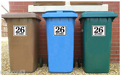 WHEELIE BIN NUMBERS HOUSE ROAD OR STREET NAME Stickers Set of 3 OR RECYCLING