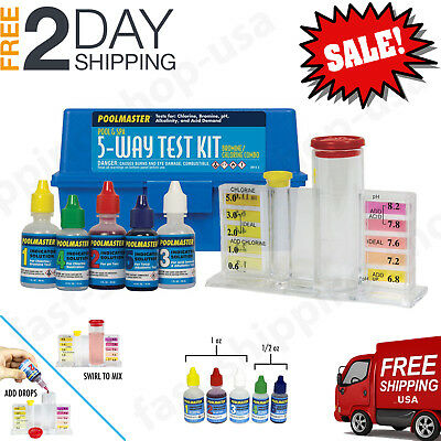 Complete Swimming Pool Water Test Kit Chlorine Bromine pH Alkalinity Acid Demand