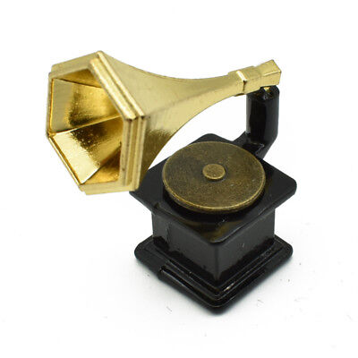 1:12 Scale Dollhouse Mini Phonograph Music Player Furniture Kid Toy Decor