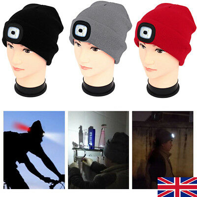 Unisex LED Beanie Hat With USB Rechargeable Battery 5 Hours High Powered Light R