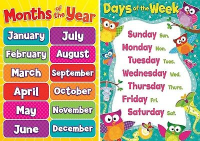 Childrens Kids Todlers A4 Months Of The Year & Days Of Week Education Posters