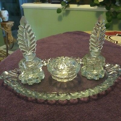 Awesome Vintage Clear IRICE Crystal Glass Vanity Set