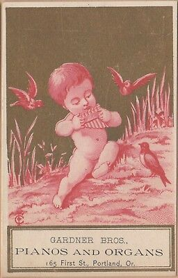 Victorian Trade Card-Gardner Bros Pianos & Organs-Portland, OR-Cherub & Birds