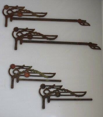 Vintage Original Wrought Iron Sign Brackets Lot of 4 For Signs, Pot Hangers