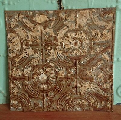 architectural antique salvaged American tin ceiling tile Ohio 1898-1901 medium**