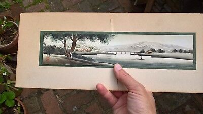 Antique vintage Japanese watercolour painting river scene signed mountains trees