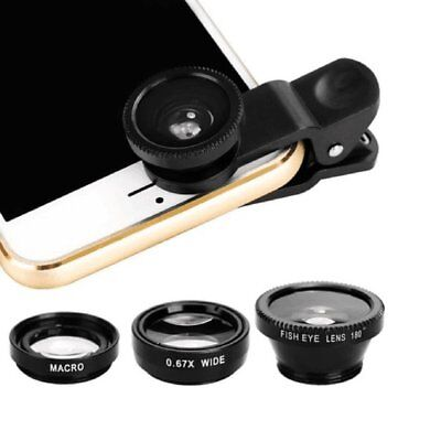 3in1 Clip On Camera Lens Kit Wide Angle Fish Eye Macro For Smart Phone-BlaNT