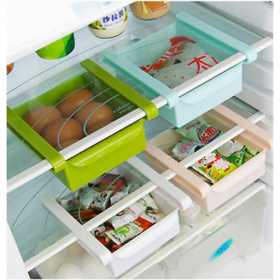 Kitchen Fridge Freezer Space Saver Drawer Organizer Storage Box Shelf Holder