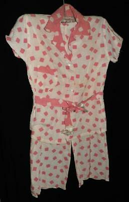 VTG RETRO ROCKABILLY 50s GIRL PINK NOVELTY PRINT SEERSUCKER PAJAMAS NEW OLD SZ 8