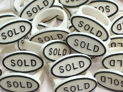 RING Jewelry Display Sold Sign Ring Tag Insert Lot of 20 - White / BLACK