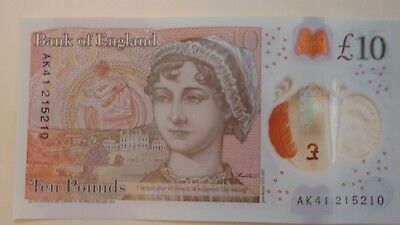 £10 recently issued, British polymer bank note with Jane Austen's image
