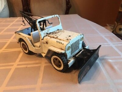 Vintage 1960s Tonka Jeep Wrecker Tow Truck with Snow Plow Pressed Steel 12""