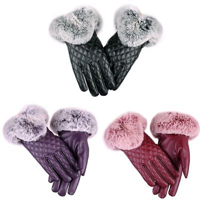 Faux Leather Winter Gloves For Women Fur Wrist Warm Lady Mittens Touch Screen