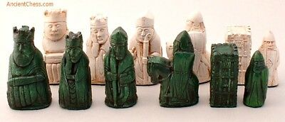 """ISLE OF LEWIS CHESS MEN, PLAYERS' SET, WITH CASTLE ROOKS K=3.5"""" (emerald) 297"""