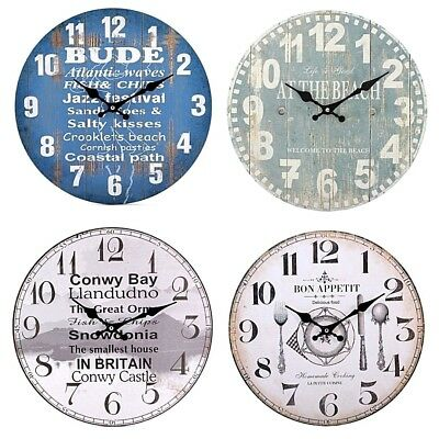 Large Shaby Chic Disstressed Vintage Contemporary Wall Clocks 34cm