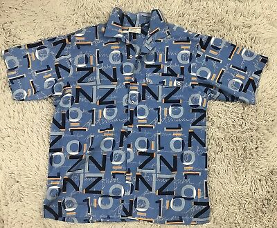 Platinum Fubu Vintage Mens Short Sleeve Button Down Shirt Blue Sz XL