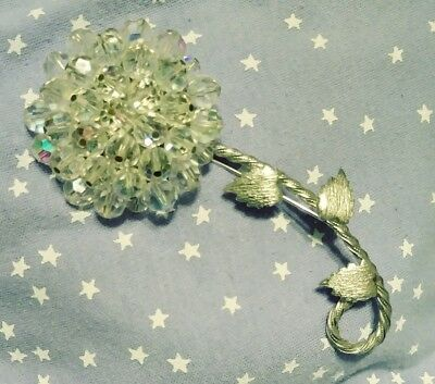 Vintage Huge Flower Brooch Pin Silvertone Arora Borealis Clear Glass Crystals