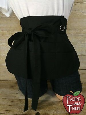 Solid Black Half Waist Pocket Apron {6 Pockets, Pen Holders & Key Ring}