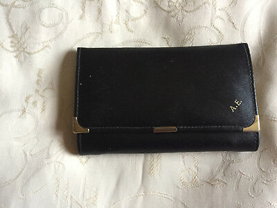 Ladies Black True Vintage Real Leather Wallet With Inner Purse