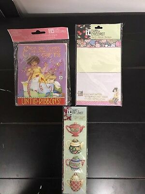 """3 Piece Lot - """"MARY ENGELBREIT"""" ~ 3D Stickers,8 Pack Cards & Sticky Notes"""