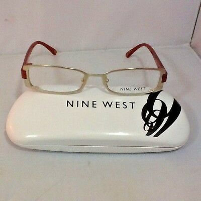 cada3c9a6c Nine West Women s Eyeglass Frames Hard Case Satin Light Gold Orange Legs New