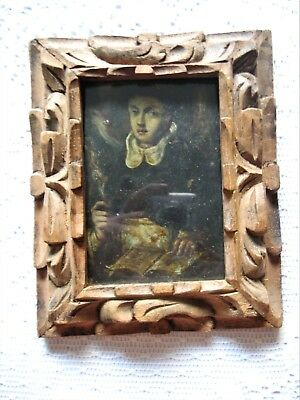 Beautiful Antique Retablo On Copper Saint With Wings Holding Crucifix Framed