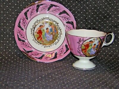 Vintage Royal Halsey Cup & Saucer, Very Fine, Great Colors & Pattern