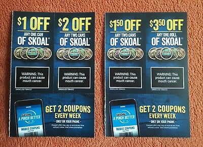 SKOAL Chewing Tobacco Chew Tin Can Roll $8.00 in Coupons Any Style Exp 1/31/19