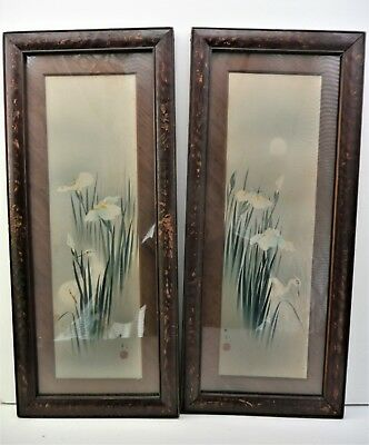 A Pair of Framed JAPANESE Watercolour Woodblock Paintings - Egrets in Irises