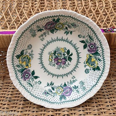 RIDGWAYS LYNTON c1960s DISHES x2 - GREEN PURPLE FLORAL - CANDLES CRAFTS TRINKETS