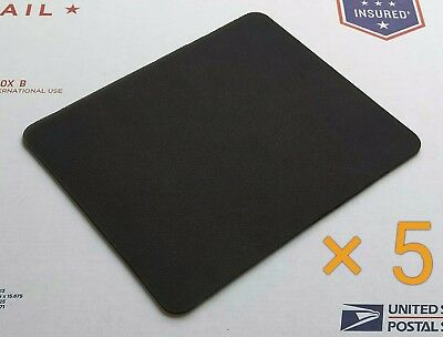 Plain Black Mouse Pad Lot - Pack of 5 High Quality 22 x 18cm Blank Mouse Pads